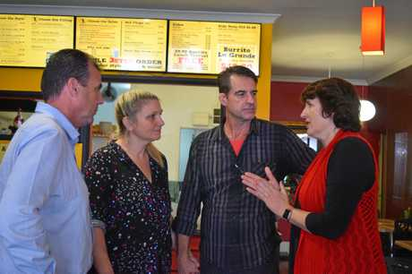 Nicklin MP Marty Hunt with Taco Boy owners Virginia Homer and Troy Hofstede and Shadow Employment Minister Fiona Simpson.