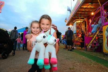 Zoe and Charlie Wilkinson having fun at Show Whitsunday on Friday.