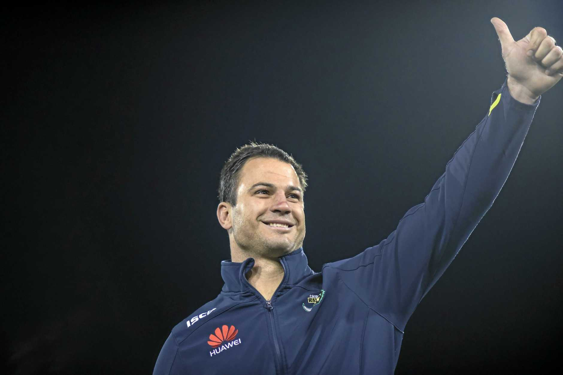 David Shillington of the Raiders acknowledges the crowd after the Round 25 NRL match between the Canberra Raiders and the Penrith Panthers at GIO Stadium in Canberra, Monday, Aug. 31, 2015. (AAP Image/Lukas Coch) NO ARCHIVING, EDITORIAL USE ONLY