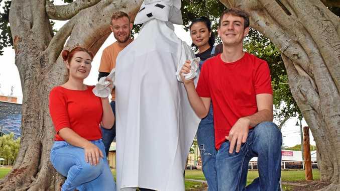 WILD IMAGINATION: Actors Taylor Dunn, Tim Holstein, Meg Yerro, Danny Moller with a pupet Polar Bear (Katanee Draheim) rehearsing at the Banyan Tree ahead of the Mary Poppins Festival.