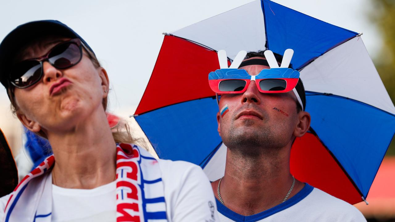 Russian fans were expectant but ultimately disappointed. Picture: AFP.