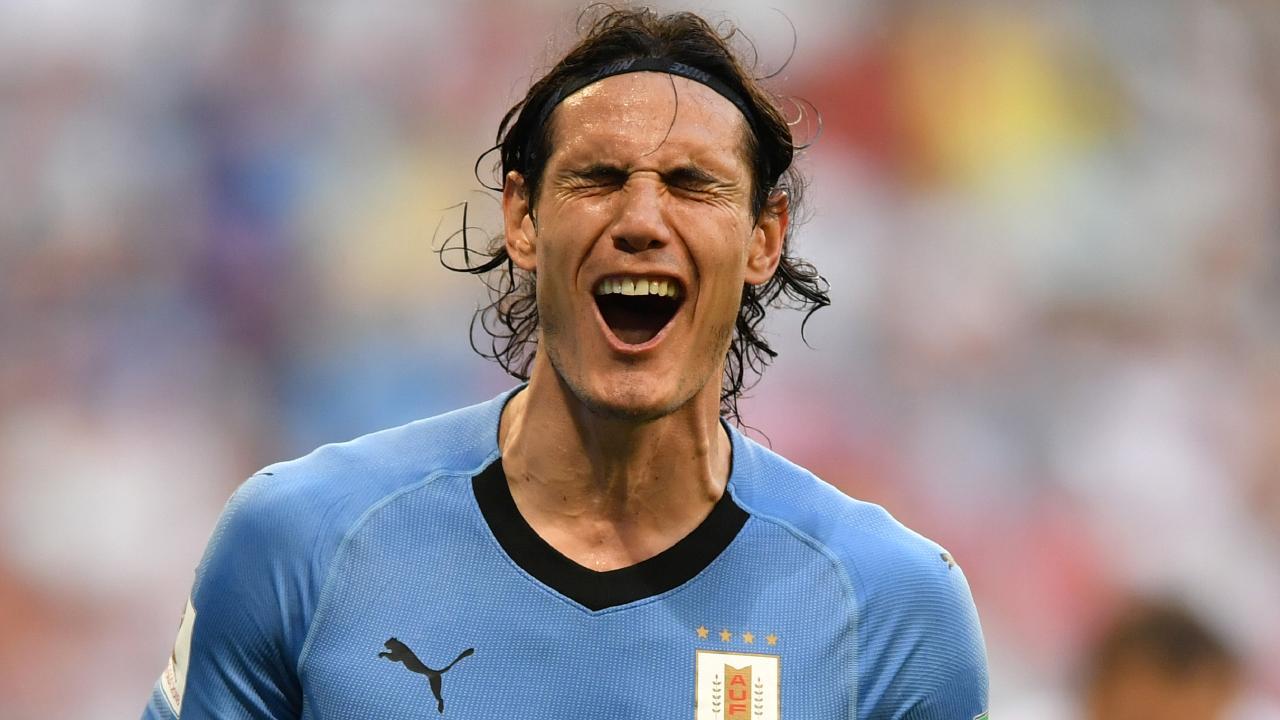 Edinson Cavani got on the scoresheet for Uruguay. Picture: AFP.