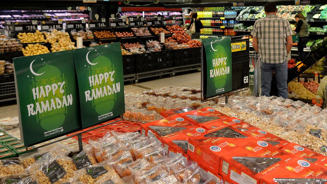 Ramadan products on sale at a Woolworths store in Sunshine, Melbourne. Picture: Adam Elwood