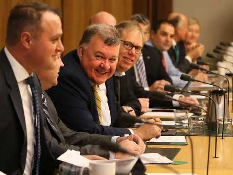 Craig Kelly MP with other coalition backbenchers meeting business leaders about the National Energy Guarantee at Parliament House in Canberra. Picture Kym Smith