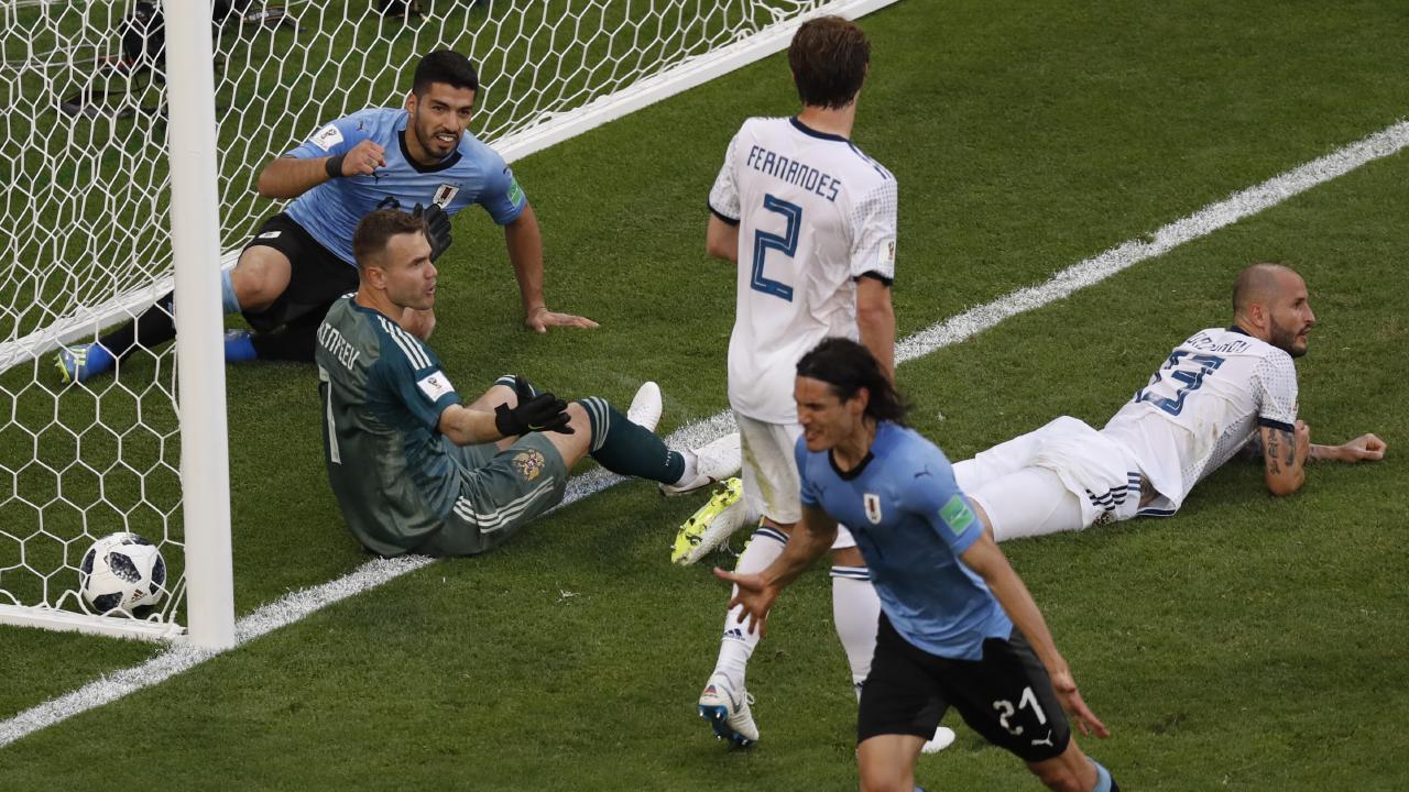 Edinson Cavani celebrates Uruguay's third goal. Picture: AP.