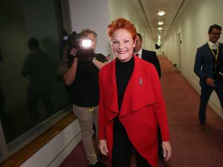 Senator Pauline Hanson in the corridors of Parliament House. Picture: Gary Ramage