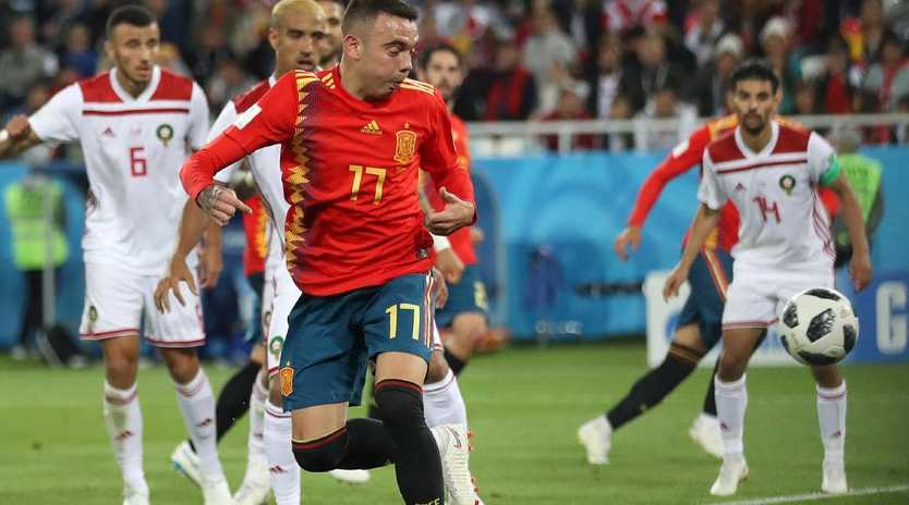 Iago Aspas flicked home a late equaliser for Spain. Picture: Getty.