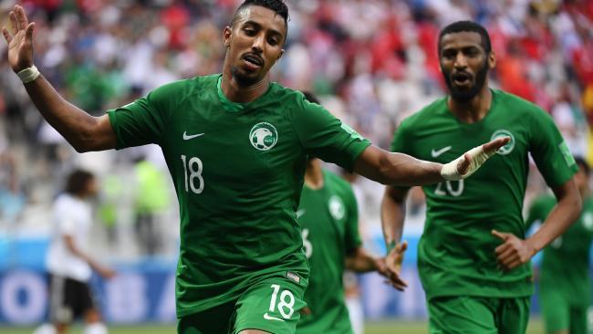 Saudi Arabia's Salem al-Dawsari celebrates scoring against Egypt at the World Cup.
