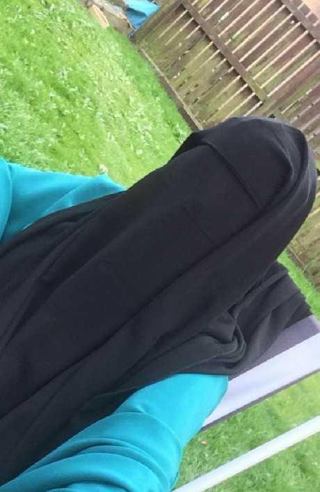 Kimberley in fully veiled Muslim attire, taken when she was talking to members of IS.