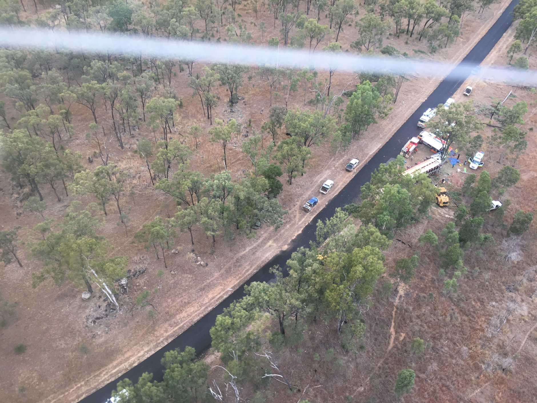 The scene of the crash as seen from the RACQ LifeFlight helicopter.