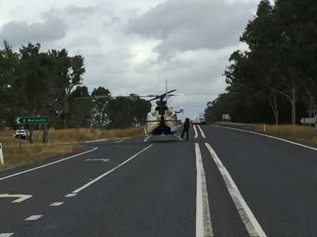 The rescue chopper arrives.