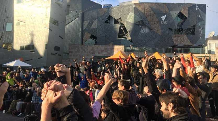 A huge crowd turned up to support North Coast performer, Dandyman, in Melbourne's Federation Square after he was attacked by a right-wing mob. Photos from Campaign Against Racism and Fascism Facebook page.