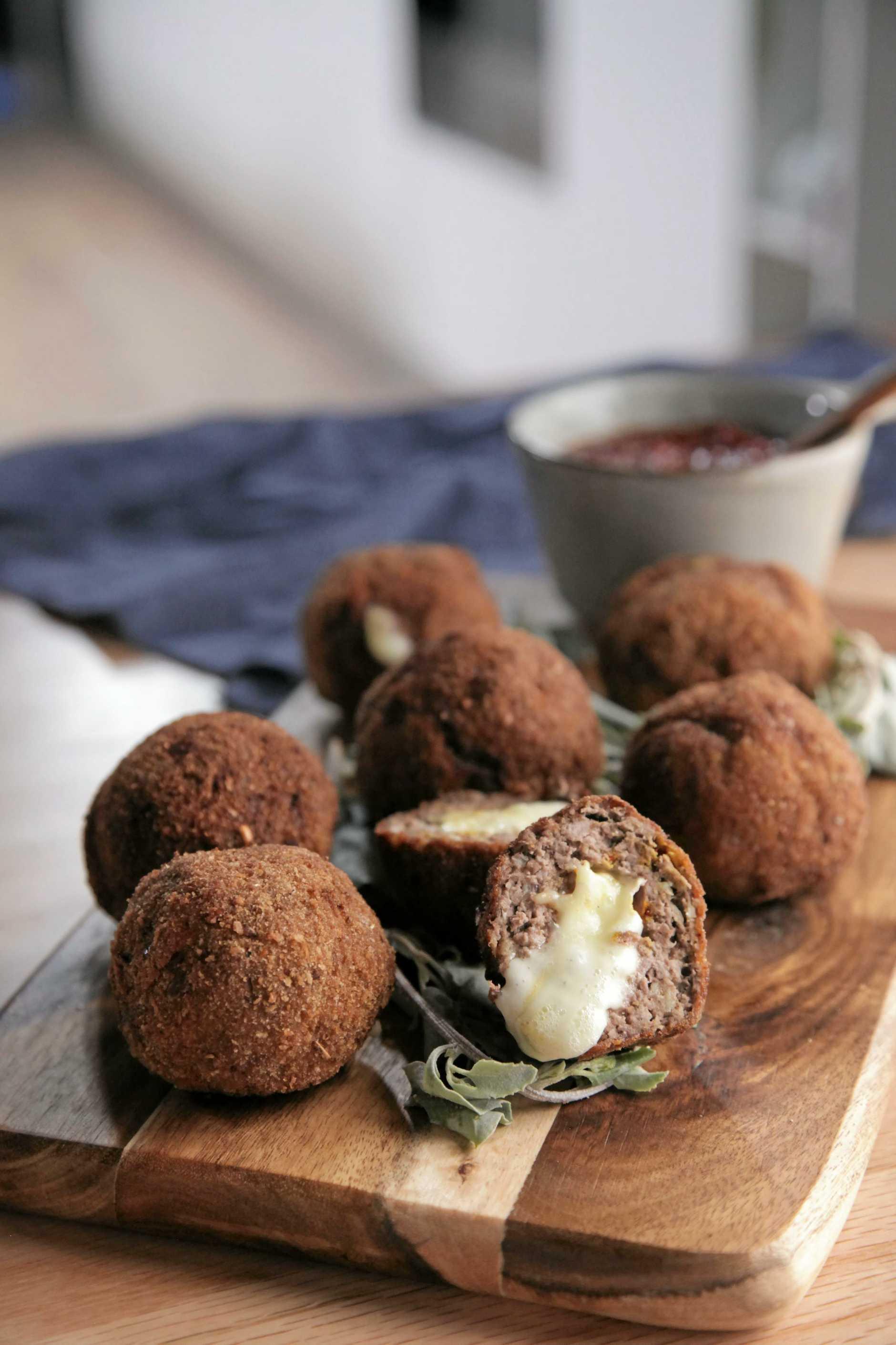 Peter Kuruvita's Frikkadels stuffed with camembert.