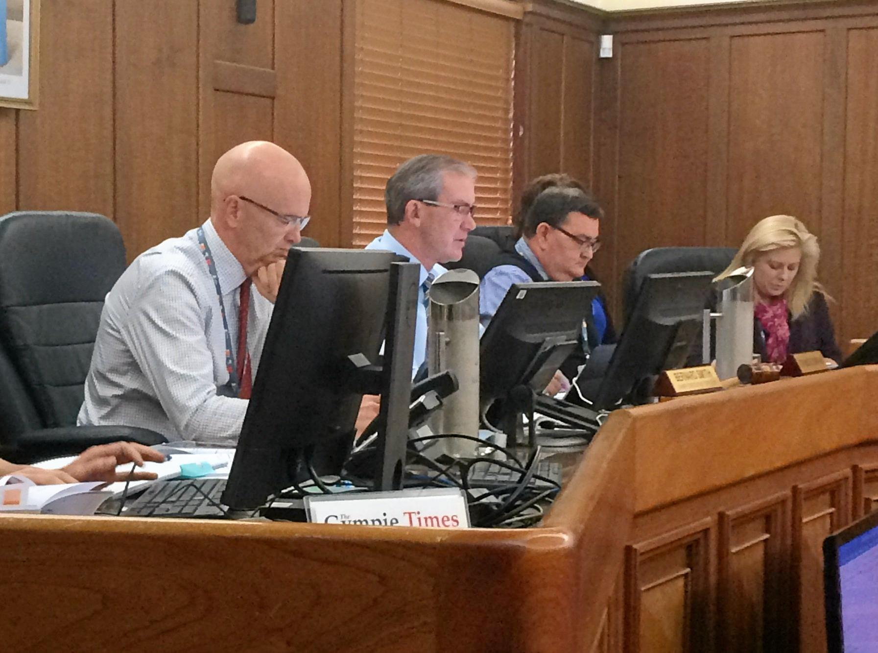 Gympie Regional Council CEO Bernard Smith and Mayor Mick Curran at the budget meeting.