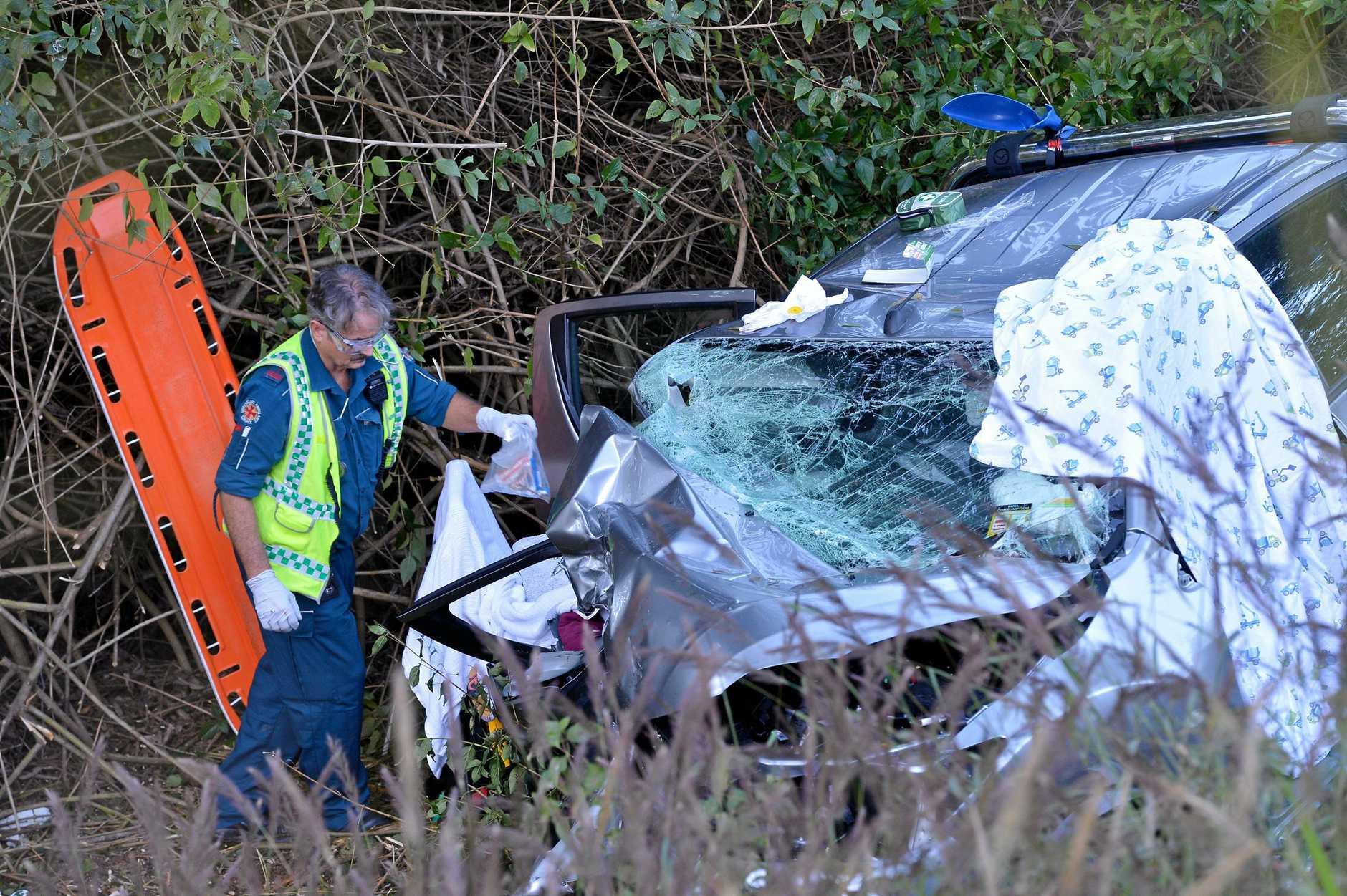 The scene of a fatal crash on Eumundi Noosa Rd were a man has died.
