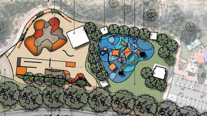 PIALBA PRECINCT: Concept designs of the Pialba skate park, on the left, located next to the adventure playground.