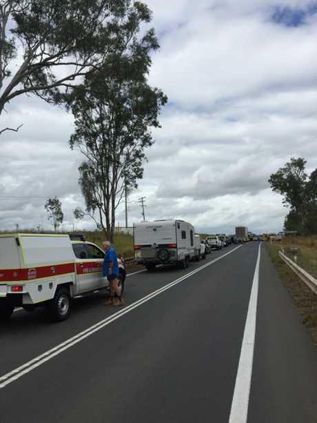 Traffic banks up following a crash at Wallaville.