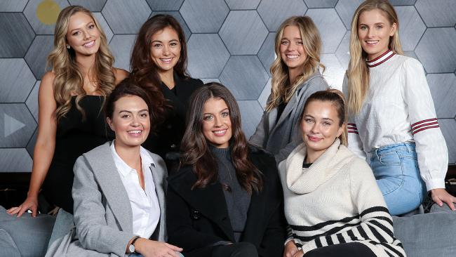 Some of the Miss Universe Australia finalists back left to right: Tasha Ross, Francesca Hung, Rosy Reilly and Ruby Compton. Front left to right: Jordy Simmonds, Emily Tokic and Tahlia Giumelli ahead of the final on Thursday. Picture: Ian Currie