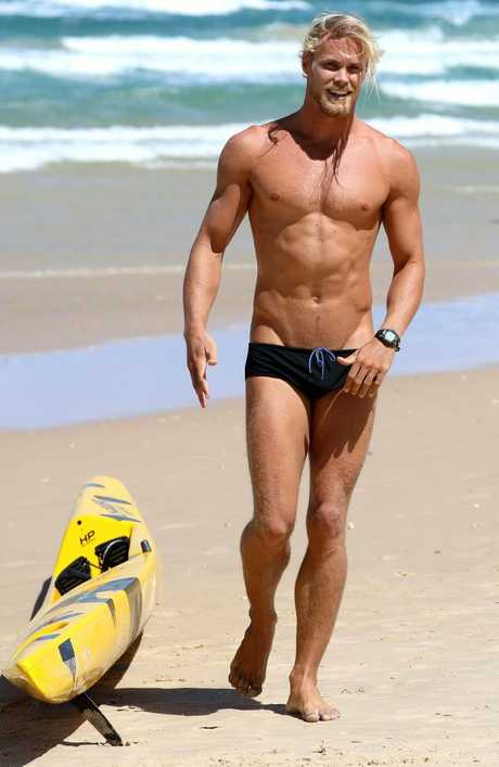 Jett Kenny shows off his amazing physique as he competes in the Ocean6 Ironman series.