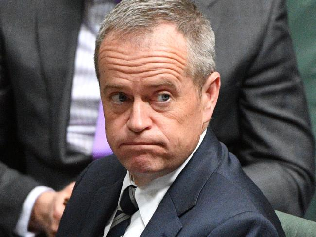 Bill Shorten made the surprise announcement on business tax cuts on Tuesday. Picture: Mick Tsikas/AAP