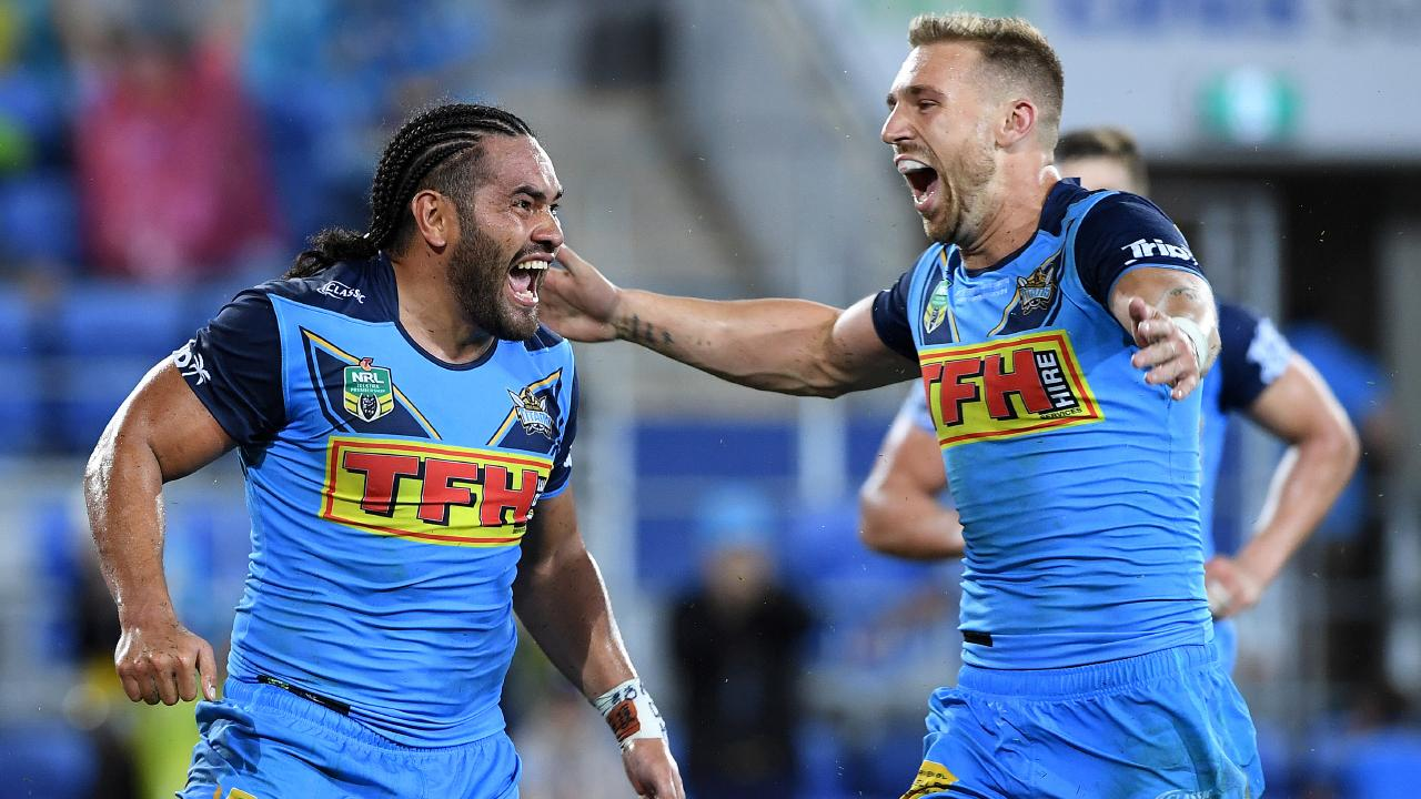 Bryce Cartwright, right, celebrates a try with Konrad Hurrell early in the 2018 season. Picture: AAP Image