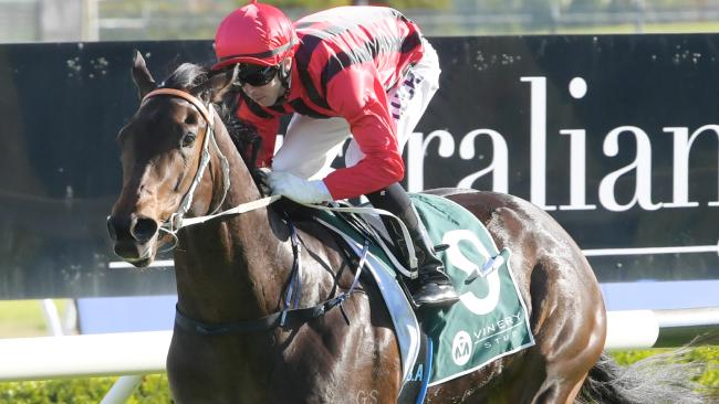 With Brenton Avdulla in the saddle, Smart Melody takes out the Casino Prince@Vinery Handicap at Canterbury Park on Wednesday. Picture: Simon Bullard/AAP