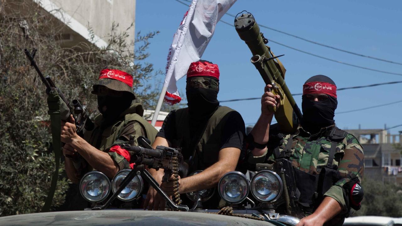 Fighters from the Popular Front for the Liberation of Palestine (PFLP) rally in Gaza City. Picture: Sylvie Le Clezio