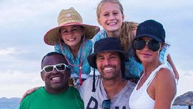 Pete Evans with his daughters Chilli and Indii, and his wife Nicola Robinson.