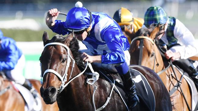 Ridden by Hugh Bowman, Winx wins the Bob Ingham Warwick Stakes at Randwick on August 19 last year. Picture: David Moir/AAP