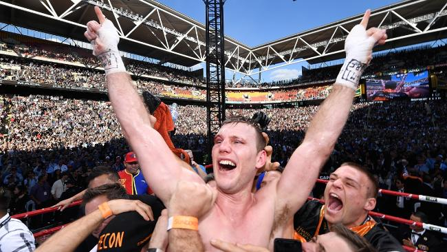 Jeff Horn celebrates victory after winning the WBO welterweight world title against Manny Pacquiao at Suncorp Stadium in 2017. Picture: Bradley Kanaris/Getty Images