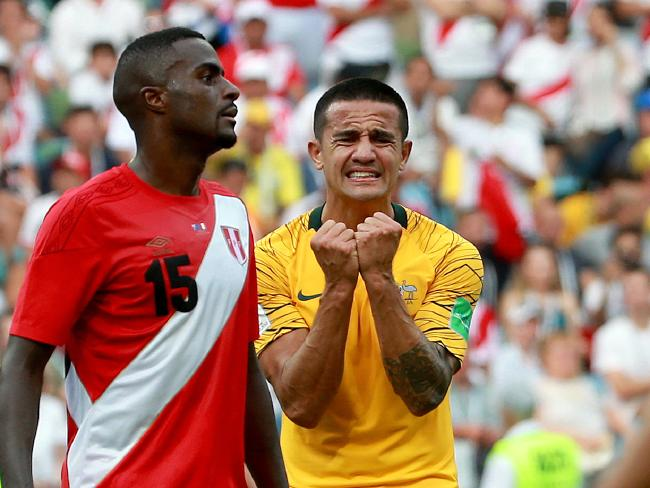 Tim Cahill's second-half reaction says it all. Picture: Toby Zerna