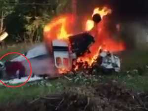 Moment teen escapes deadly plane crash
