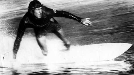 Former world champion surfer Nat Young riding in Sydney in 1975.