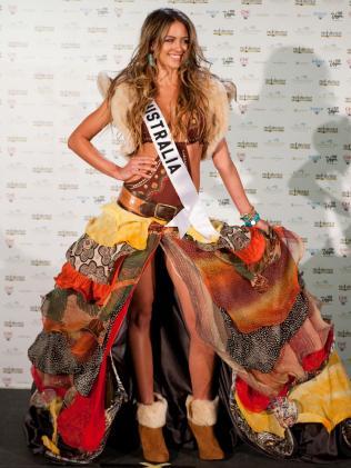 Jesinta Franklin in her Miss Australia 2010 national costume in Las Vegas. Picture: AP Photo/Matt Petit/Miss Universe Organization LP, LLLP