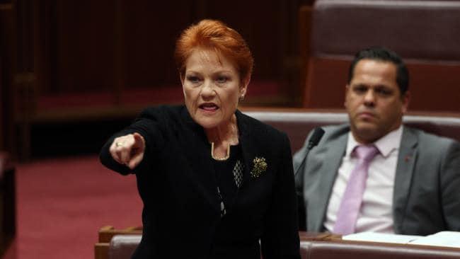 Senator Pauline Hanson in the Senate Chamber in Parliament House. Picture Gary Ramage