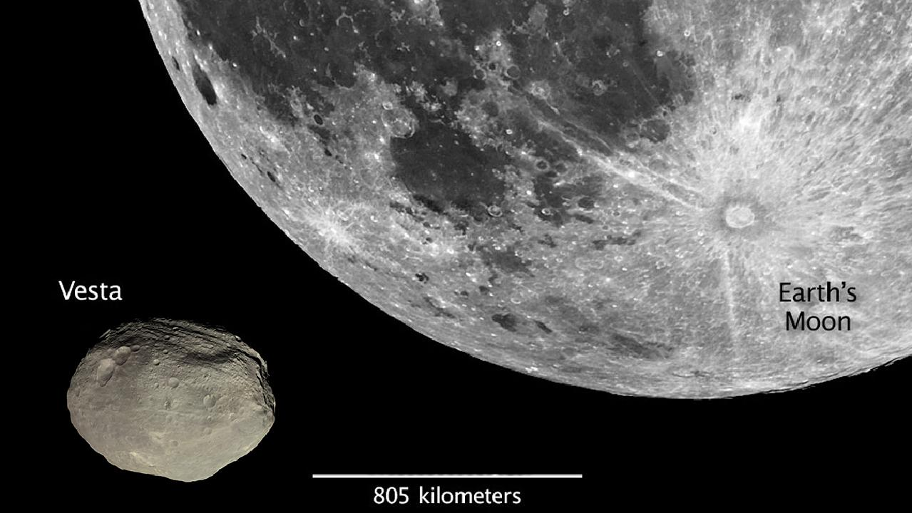 Vesta, one of the largest asteroids in the Solar System, is passing Earth close enough to see. Here its size is given in comparison to the Moon.