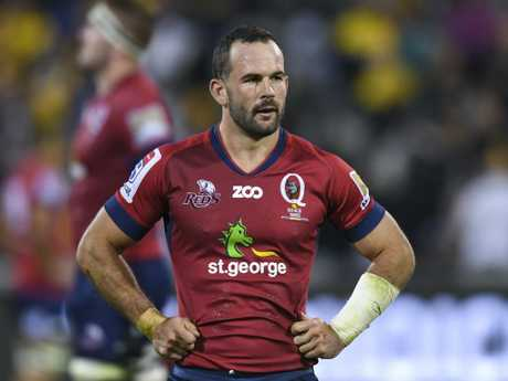 Jono Lance of the Reds reacts after loosing the Round 8 Super Rugby match between the Brumbies and the Queensland Reds at GIO Stadium in Canberra, Saturday, April 7, 2018. (AAP Image/Lukas Coch) NO ARCHIVING, EDITORIAL USE ONLY
