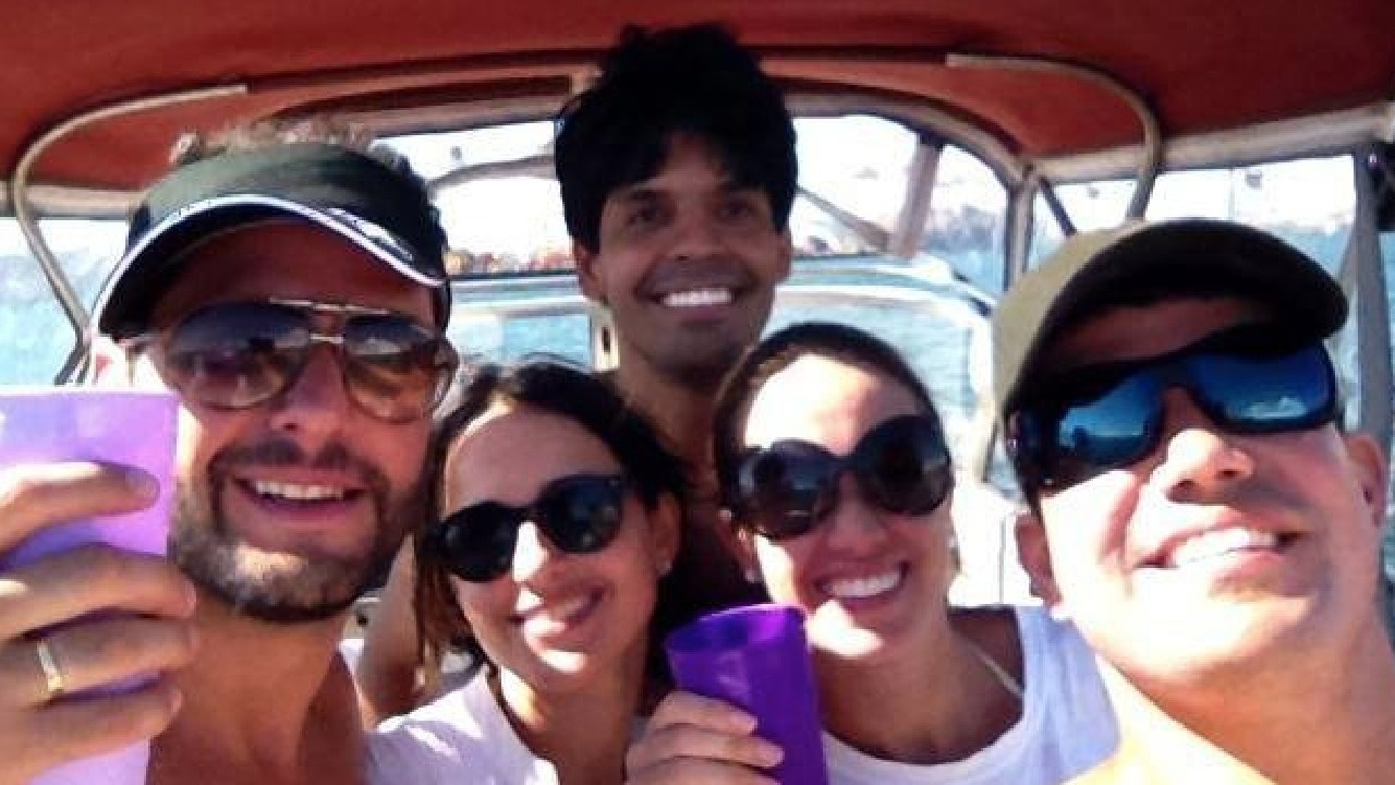 Cecilia Haddad on the boat in Perth with then-husband Felipe Torres (left), alongside Juliana Vilela and Andre Atem, also believed to be married (right), on a boat in the Swan River near Perth. Marcelo Santoro is in the background.