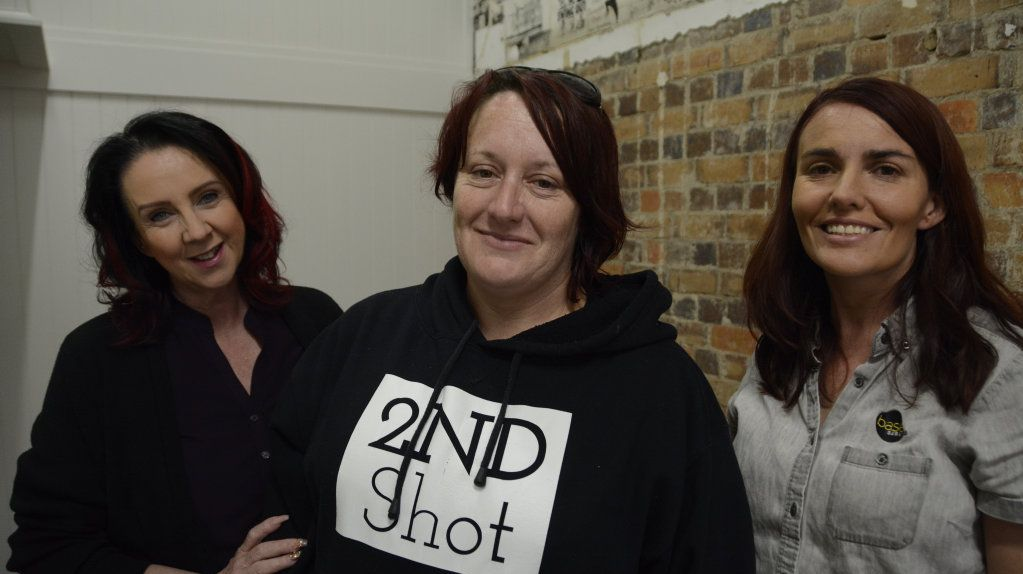 SECOND CHANCE: Second Shot participant Jody Flint (centre) will be one of the first people employed at a new cafe on Ruthven St being developed by Tiff Sparry (right) and BASE Services. The flooring was contributed by Andersens Toowoomba, who is represented by Susan Jordan (left).