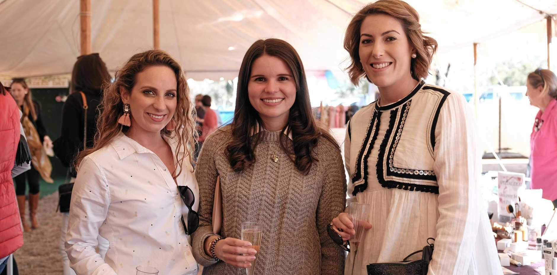 Steph Robinson, Anna Halloran and Jess Land at the Condamine Cods Ladies' Day last year.