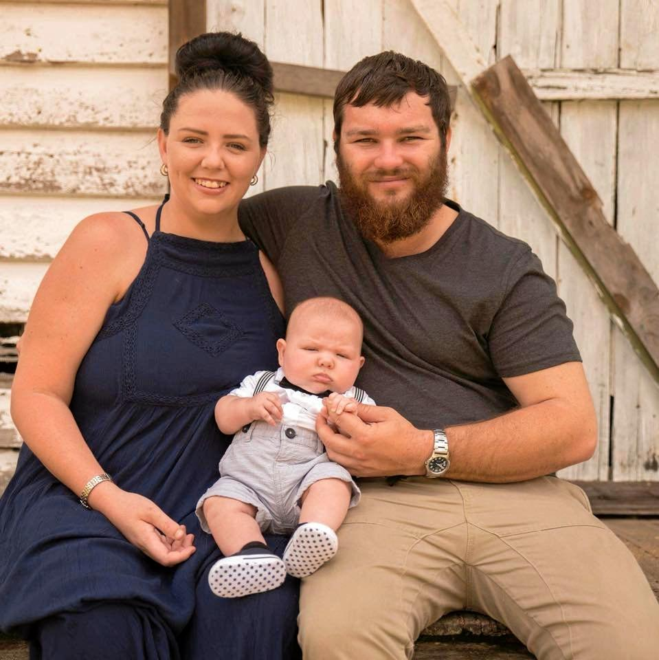 Amy Page, Clifford Rose and ten-month-old Hudson who was born at the Gladstone Hospital.
