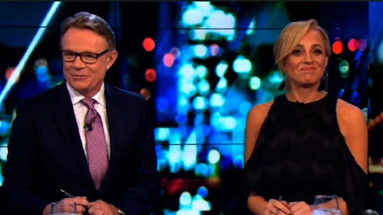 Judging by Hugh Riminton and Carrie Bickmore's awkward expressions Gleesons' refusal to leave had not been planned. Picture: Channel 10