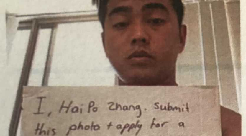 Hai Po Zhang takes a picture of himself so that he can allegedly use digital currency to buy guns on the dark web.