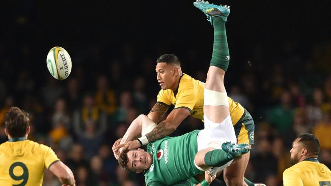 Folau's challenge on Ireland's Peter O'Mahony goes wrong. Picture: AFP