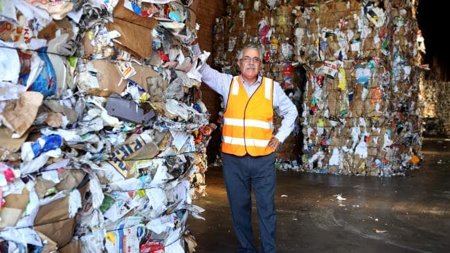 Tony Khoury director at a recycling plant in Rydalmere, Sydney. Australia is facing a recycling crisis following restrictions placed on waste material exports to China in July last year. (Pic: James Croucher)