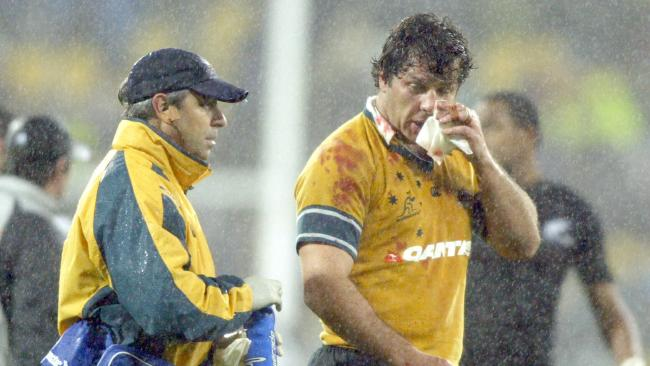 Wallabies hooker Brendan Cannon following a scrap with All Blacks rival Keven Mealamu.