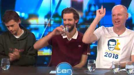 """Gleeson ended his gatecrashing stint by chanting """"Denyer for gold"""" until he was cut off by MasterChef. Picture: Channel 10"""
