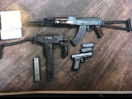 Police seized three firearms during the arrest.