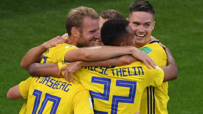 Sweden are buoyant and go into the final 16 in great form. Picture: AFP.