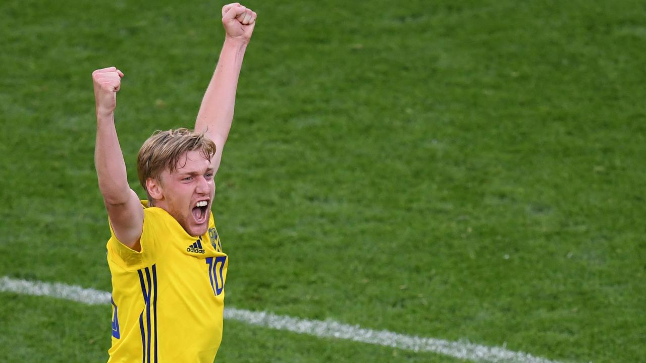 Emil Forsberg is pretty happy as the Swedes triumph 3-0. Picture: AFP.
